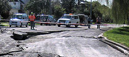 photo of road broken up by earthquake
