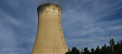 photo of nuclear plant steam stack